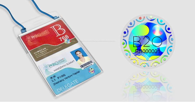 Custom round holographic sticker for event permits