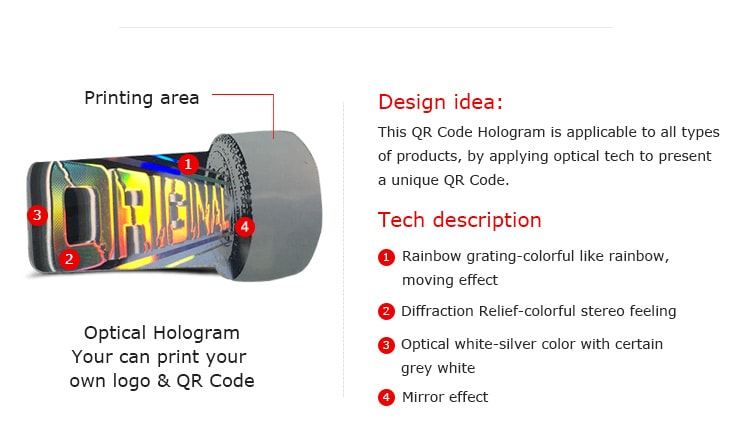 Hologram Anti Fake Warranty Label with printing area