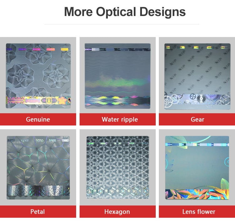 Six Available Optical Printable Hologram Sticker Designs