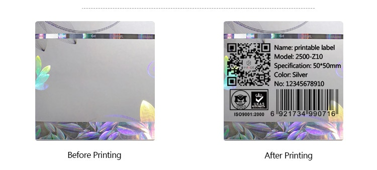 before and after printing of warranty hologram sticker