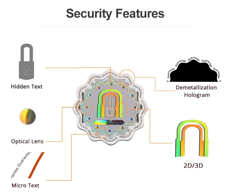 custom security hologram sticker with secruity elements