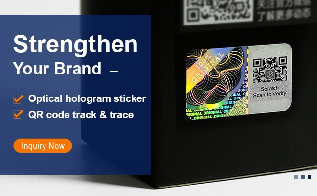 high end hologram sticker with scratch QR code authentication system