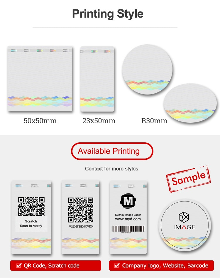 hologram sticker with various sizs and printing informations