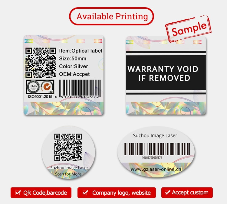 hologram warranty label with customized printing