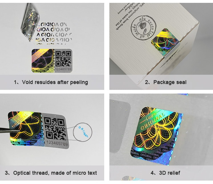 holographic security seal, available to do QR code printing