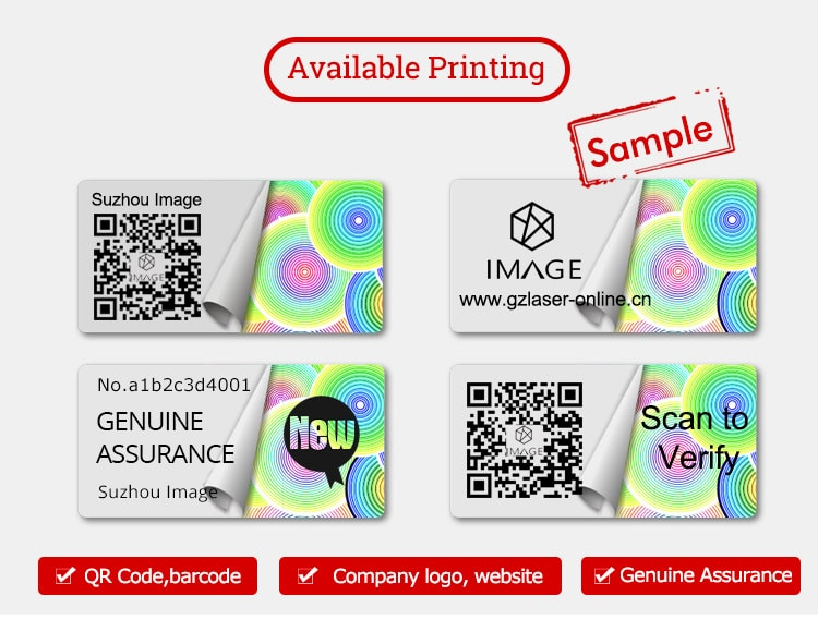 optical qr code adhesive label with personalized printing