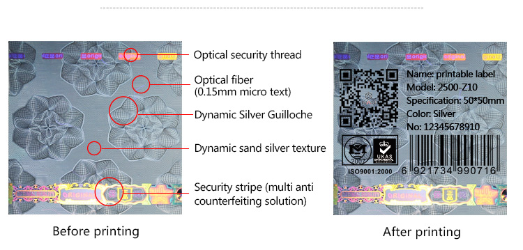 printable holographic stickers with mutiple anti-counterfeit features
