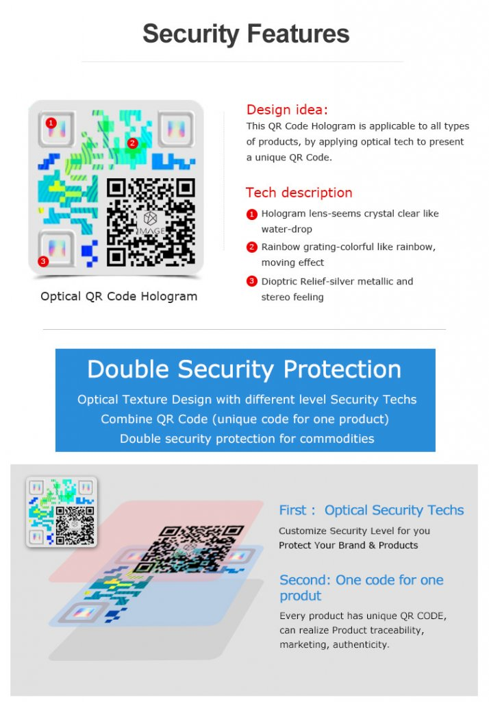 qr code authentication hologram sticker, double security protection