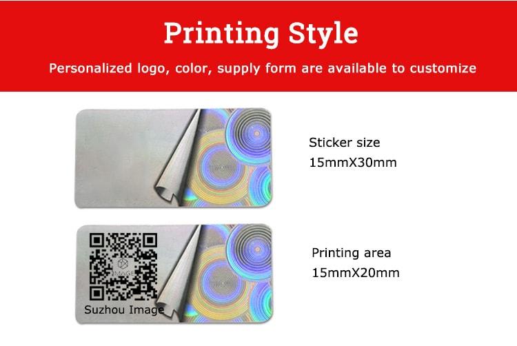 qr code printing adhesive hologram label