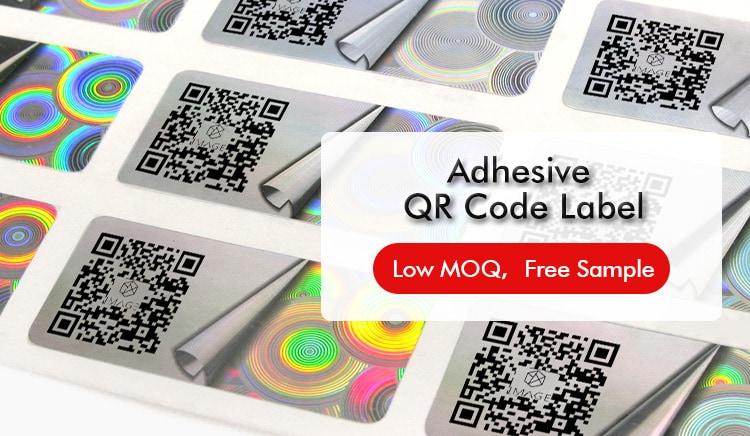 rectangular hologram adhesive qr code label