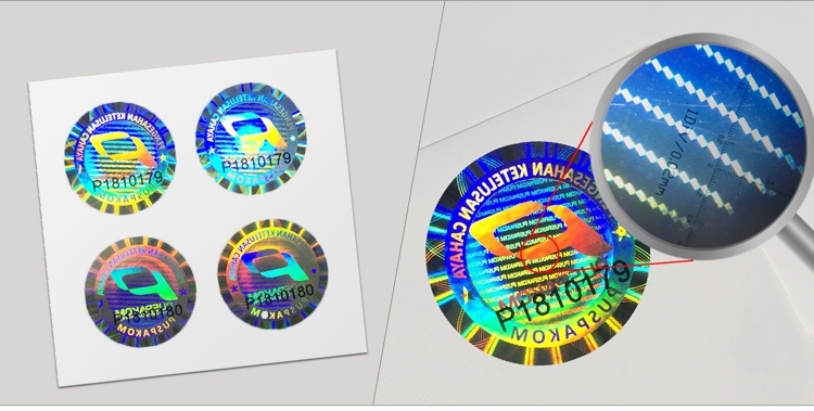 round adhesive hologram label, printed with serial numbers