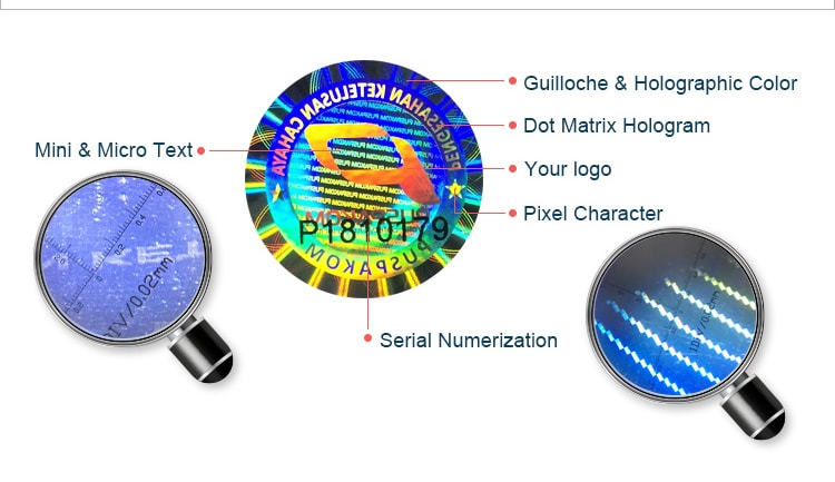 round serial number hologram label contains about six security elements