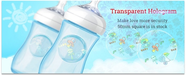 transparent hologram label for bady feeding bottle