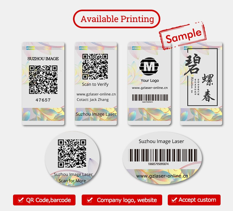 void security labels, printed with verification code, qr code, barcode and logos