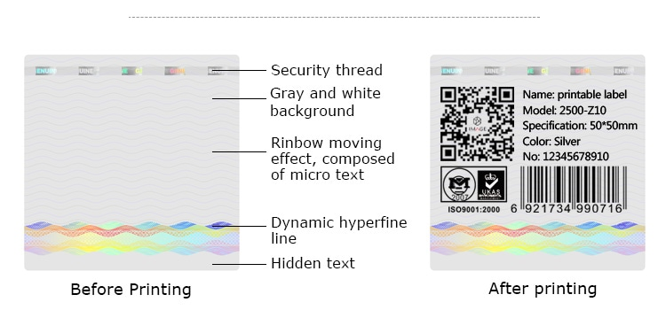 water ripple printable holographic label with about five security technologies