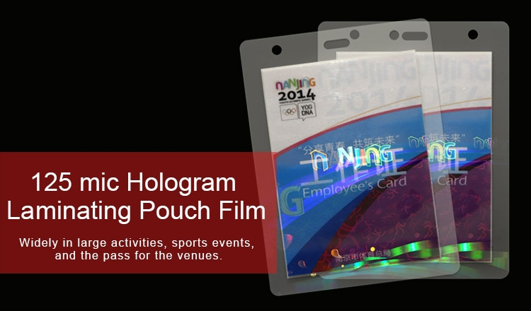 125 micron Hologram Laminating Pouch Film for Nanjing Youth Olympic Games