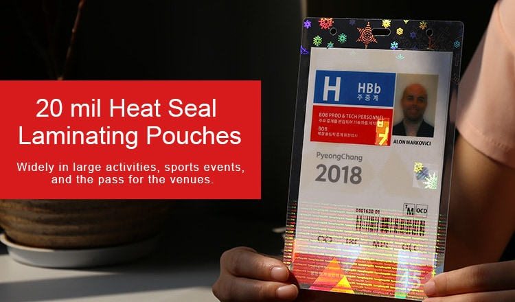 20 mil holographic heat seal laminating pouches for event ids, contains many optical techs