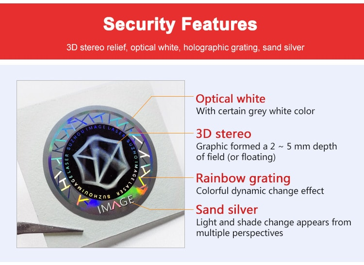 31mm 3d custom holographic sticker with four security features