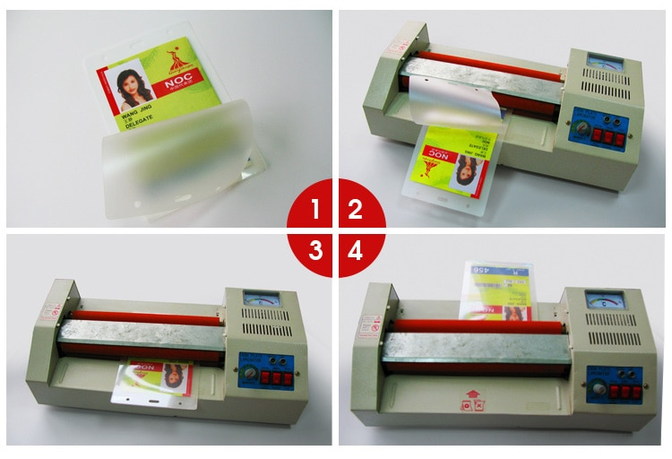 4 steps to laminate the event ID with the holographic laminated pouch