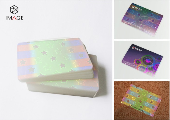 86X54mm star pattern hologram laminating pouches for id cards
