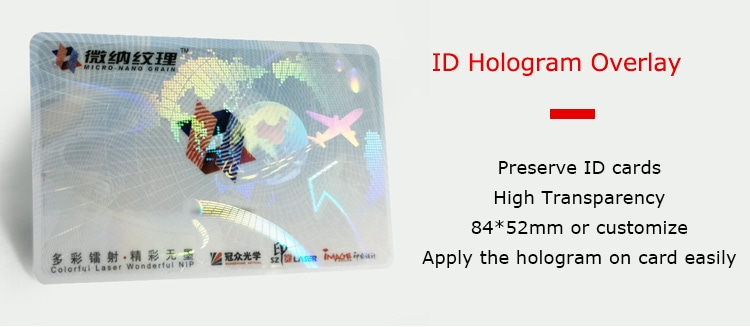 Airplane Earth Self Adhesive Hologram Overlay for IDs