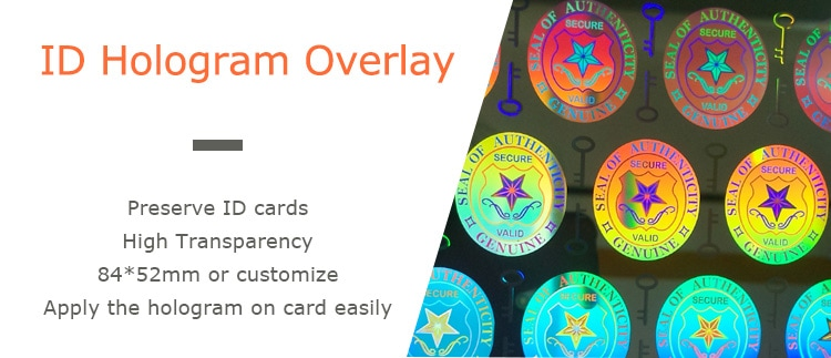 High transparency self stick id hologram overlay with SECURE and Key pattern