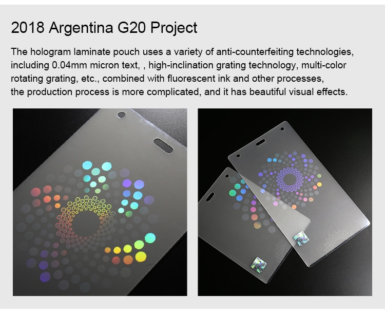Hologram Hot Laminate Pouch for 2018 Argentina G20 Summit