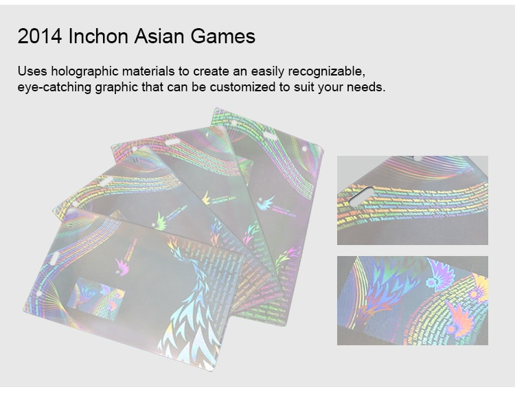 Hologram Laminated ID Badge Pouches for 2014 Inchon Asian Games