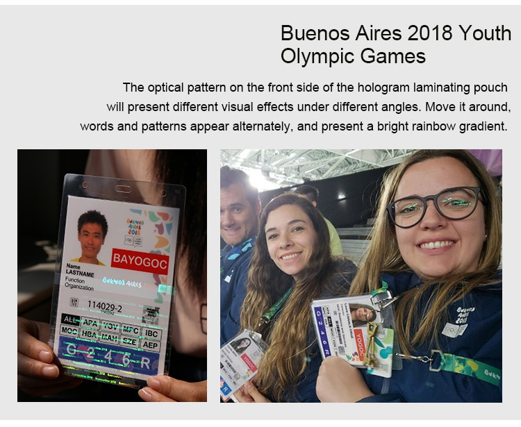 Hologram Self Sealing Laminating Pouches for Buenos Aires 2018 Youth Olympic Games