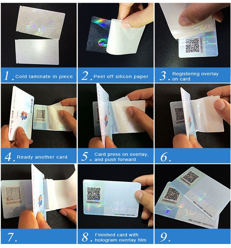 How to Stick the Hologram Cold Laminate Overlay to ID Card