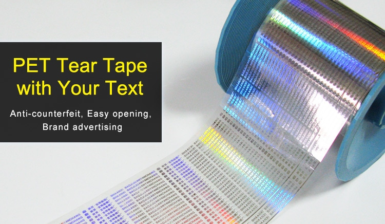 PET holographic tear tape with your text