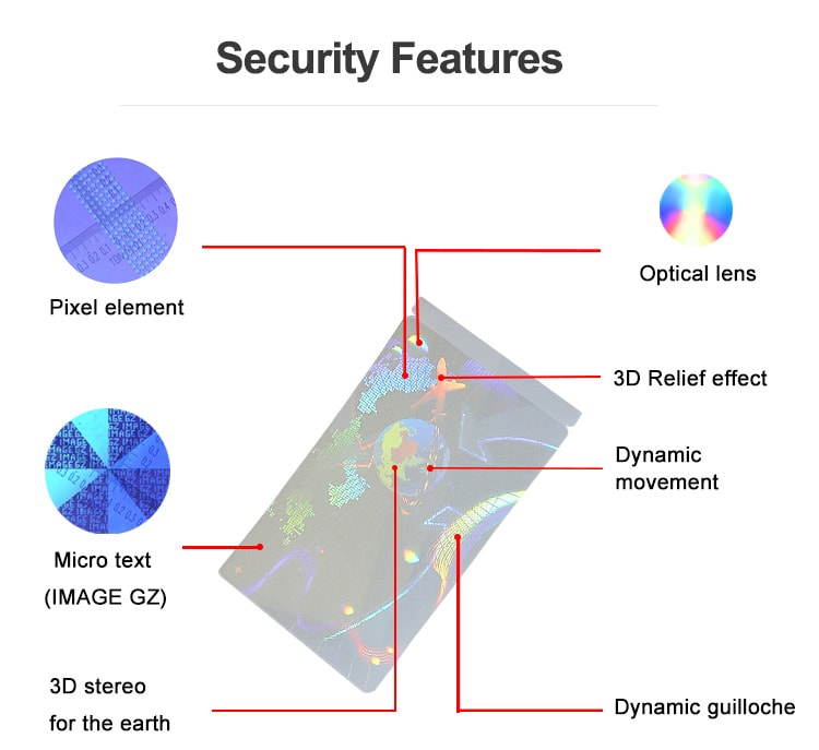 Security Features of Airplane Earth Self Adhesive Hologram Overlay