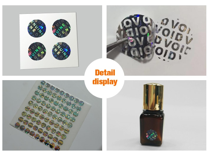 circle authentic holographic sticker for nail polish bottle