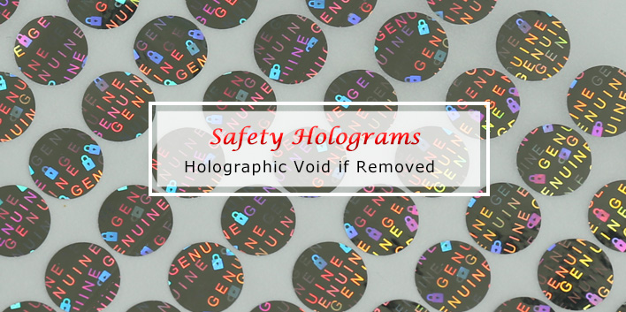 circle authentic holographic sticker, void if removed