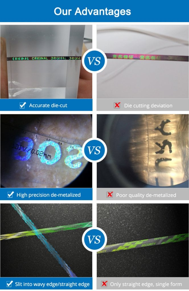 compared with ordinary tear tape, the advantages of hologram tear tape