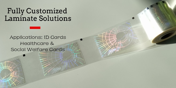 roll form hologram patch film, used to laminate id cards, healthcare and social welfare cards