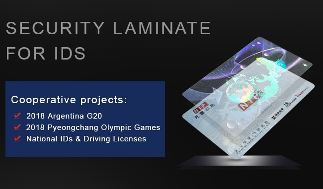 security heat laminate hologram overlay for ids