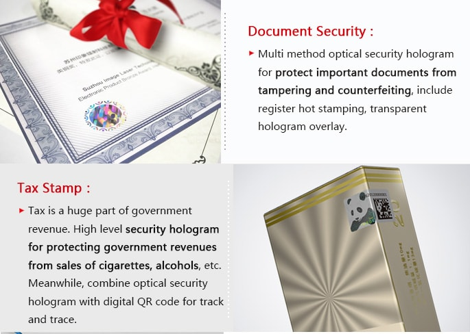 security hologram solution for documents and tax stamp