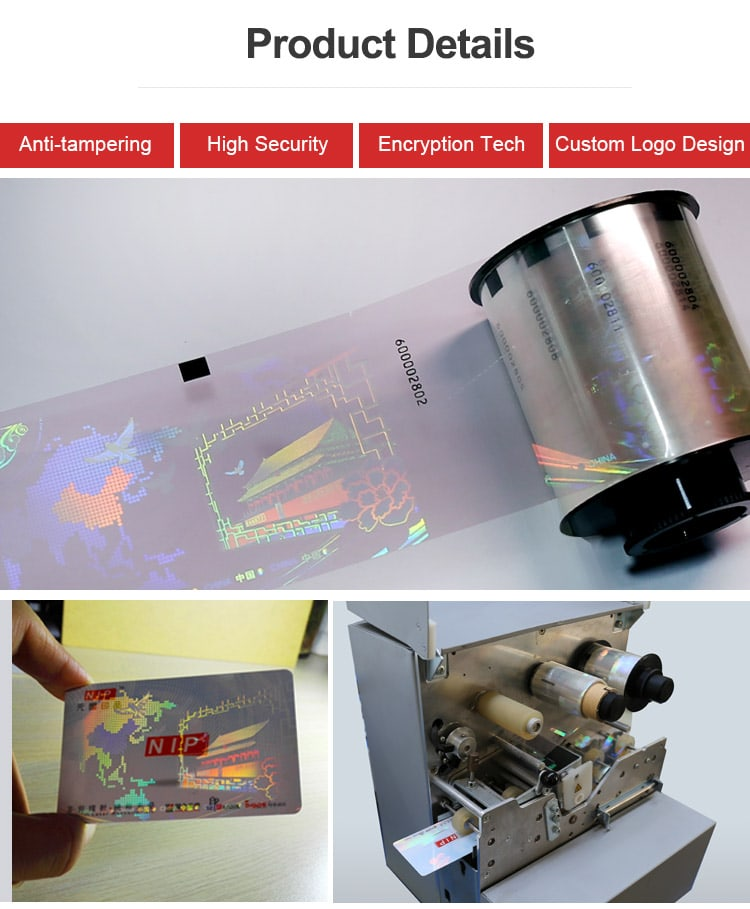 use special laminator to transfer optical image of hologram ribbion to id cards