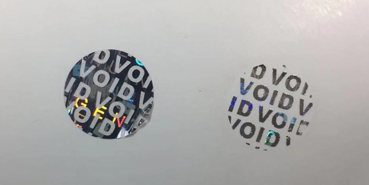 void anti-tamper authentic holographic sticker