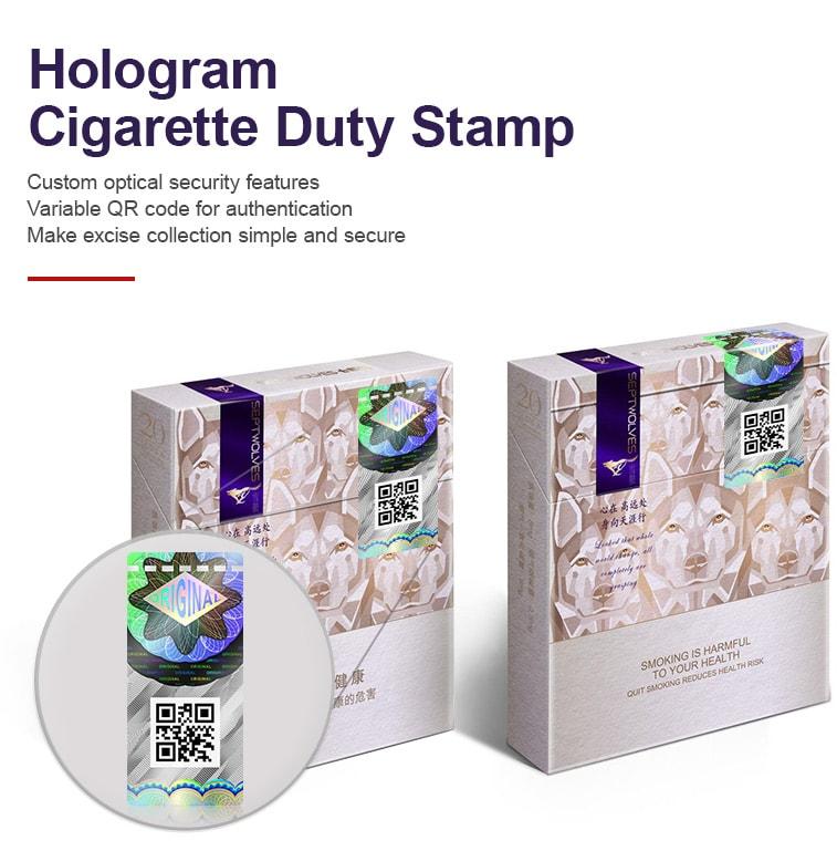 Hologram cigarette duty stamp for safety sealing application
