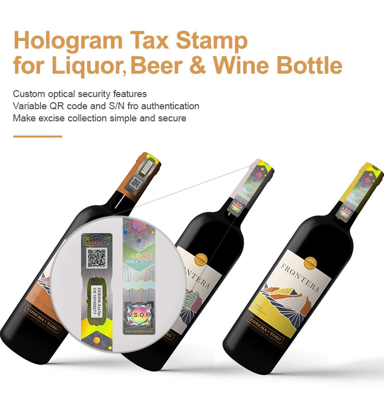 Holographic excise tax stamps for various alcoholic products such as beer, wine, liquor, etc