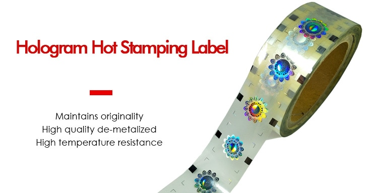 Registered hologram hot stamping label in roll form