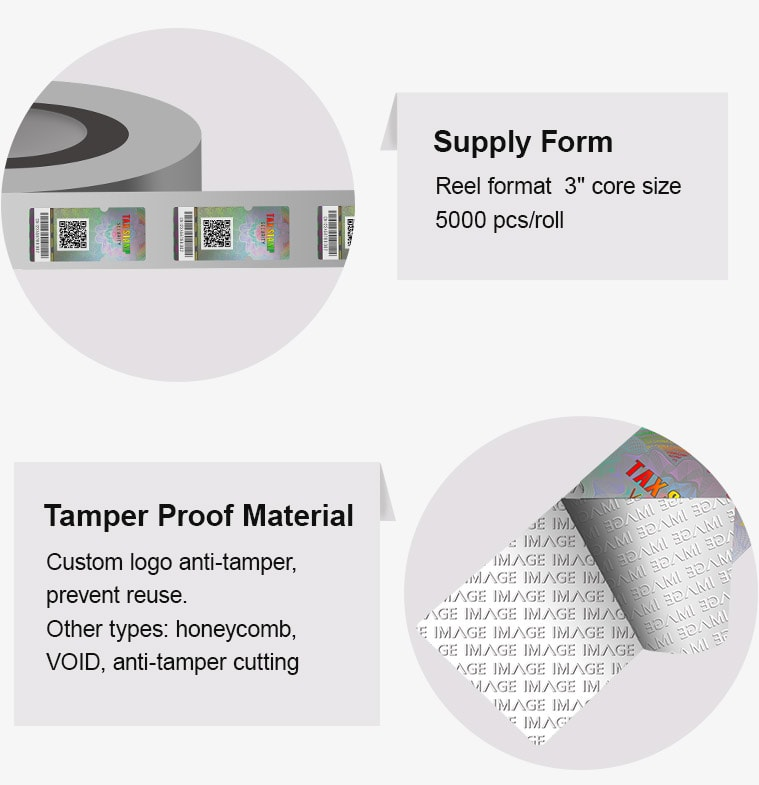 Roll hologram medicine tax stamp with tamper proof feature