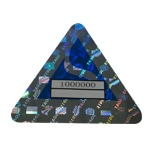 Triangular Holographic Sticker with Blue Printing