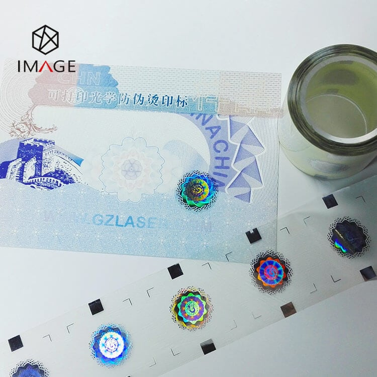 custom graphics hot stamping holographic foil, optical image is transfered to certificates