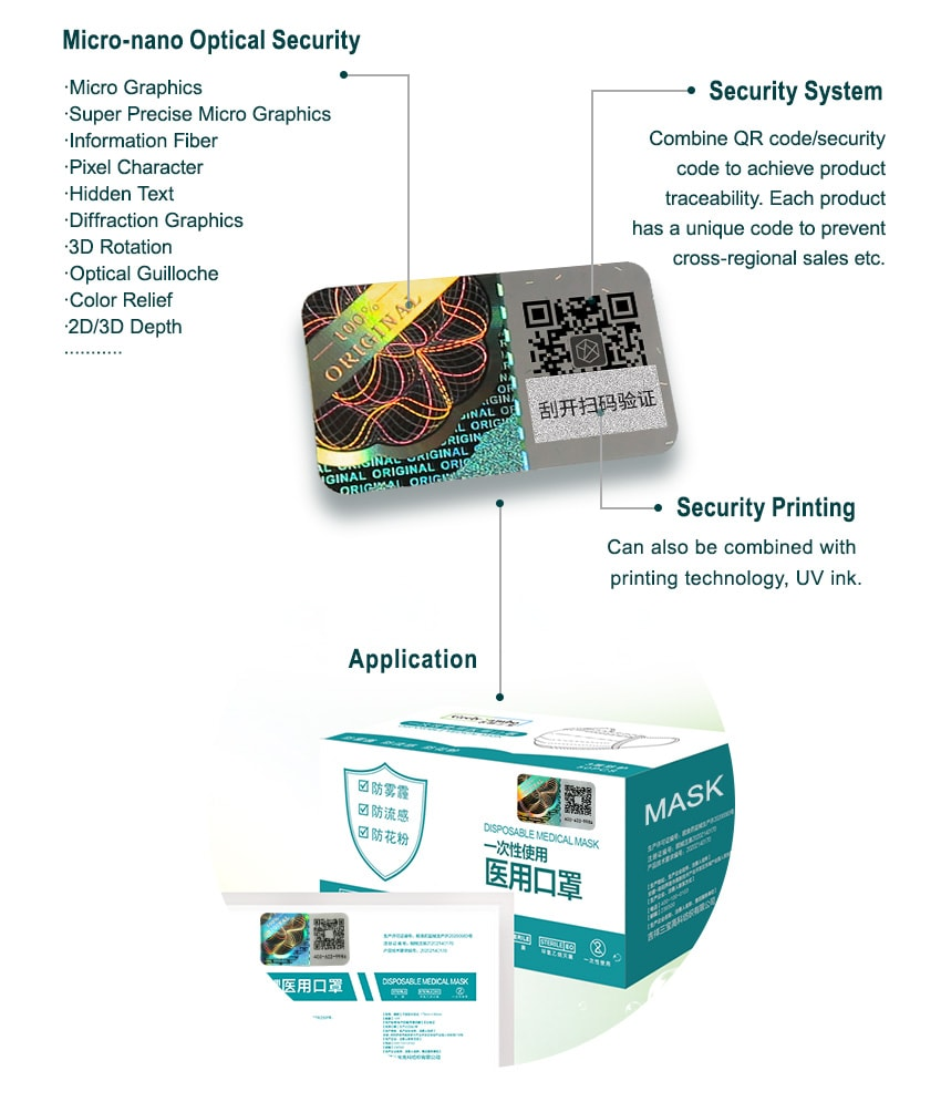 fully customized hologram security sticker for mask packaging