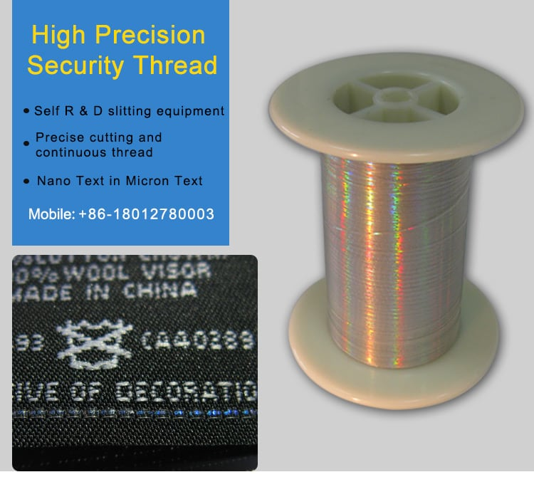 high precision hologram security thread, knitted into woven label