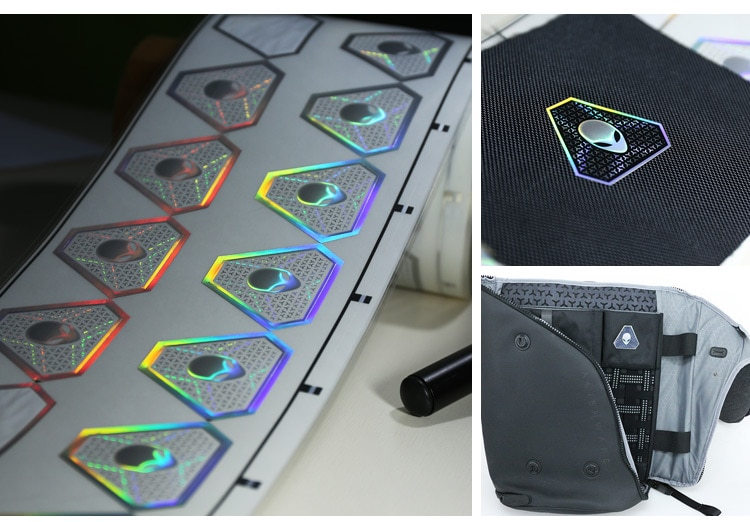 high security features hologram hot stamping sticker, hot stamped on fabric