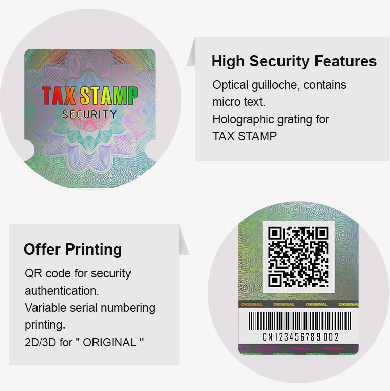 high security hologram revenue stamp with printing